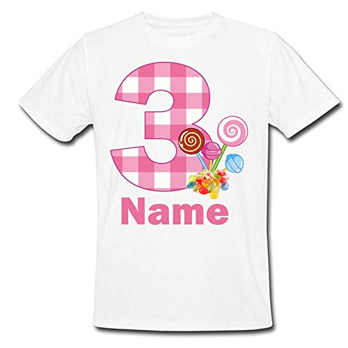 Sprinklecart Special 3rd Birthday wear | Personalized Name Printed Lolipop Kids Lovely Birthday Tshirt (3 Year) White -