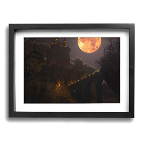 Framed Modern Canvas Wall Art Yellow Moon, Oil Painting Pictures Decor with Mat Ready to Hang for Home Kitchen Bathroom Office - 12 X 16 Inch