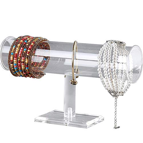 Acrylic Removable Bracelet Display Holder Stand 1 Tier Jewelry Rack Watch Headdress Flower Organizer T Bar I-Shaped Shelf Case