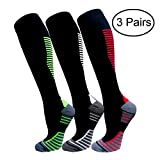 Copper Compression Socks For Men & Women(3 Pairs)- Best For Running,Athletic,Medical,Pregnancy and Travel -15-20mmHg (S/M, Multicoloured 15)