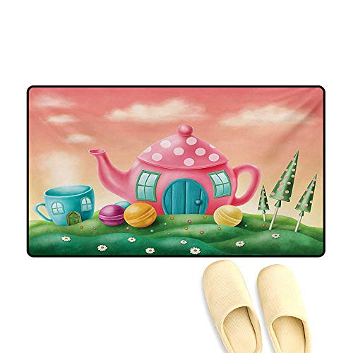 Door Mats,Fantasy Teapot and Cup Houses Wonderland Theme Meadow Teatime Happiness Artwork,Bath Mat Non Slip,Pink Green,24
