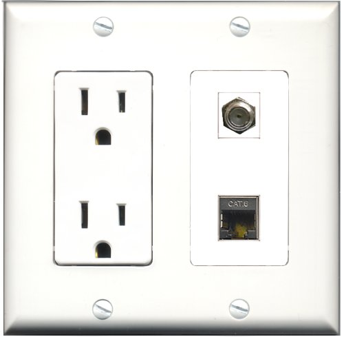 RiteAV - 15 Amp Power Outlet and 1 Port Coax Cable TV- F-Type and 1 Port Shielded Cat6 Ethernet Decora Type Wall Plate White