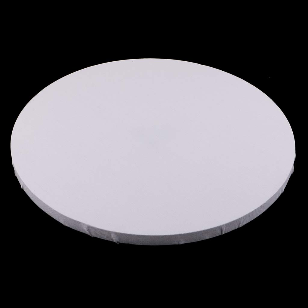 White 20cm B Baosity 3 Style Stretched Canvas Round Blank Paint Canvas Board Wooden Picture Frame For Wall Decorations