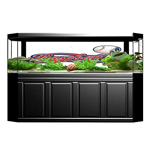 UHOO2018 Aquarium Decorative Baseball Ball Sporting Pastime National Sport Athletic Entertainment Aquarium Background Sticker Wallpaper 29.5