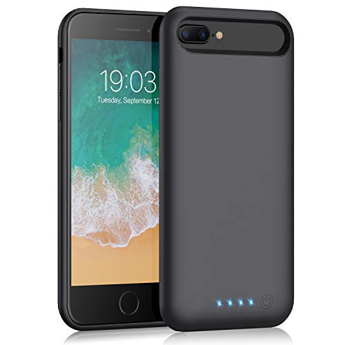 Battery case for iPhone 7 Plus/ 8 Plus/6 Plus/6s Plus, Kilponen 8500mah Portable Protective Battery Charging Case Slim Extended Rechargeable Battery Pack Charger Case for iPhone 8 Plus 7 Plus 6 Plus