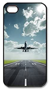 iPhone 4S Case,Amazing Lifting Off Airplane PC Hard Plastic Case for iPhone 4S Black