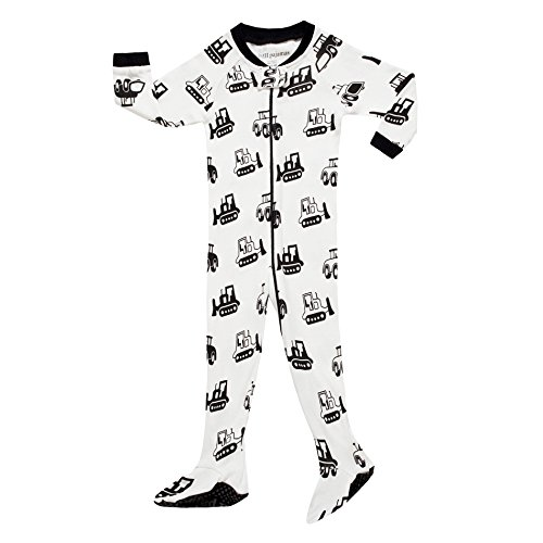 MMII pajamas Little Boys Footed Bulldozer Pajamas Sleeper 100% Cotton Child Blanket White Size 2T