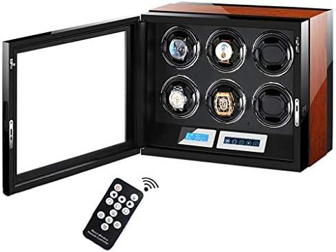 LSRRYD ワインディングマシーン 腕時計自動巻き器 6本巻き上げ LEDライト付き ウォッチワインダー LCDタッチディスプレイリモコン付き木製ピアノ仕上げ静音設計
