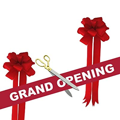 """Grand Opening Kit - 20"""" Gold Plated Handles Ceremonial Ribbon Cutting Scissors with 5 Yards of 6"""" Grand Opening Ribbon White Letters and 2 Bows"""