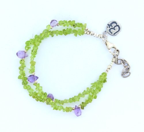 Double Strand Amethyst Briolettes and Peridot Chips with .925 Sterling Silver
