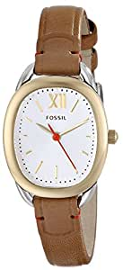 Fossil Women's ES3558 Sculptor Stainless Steel Watch with Brown Leather Band