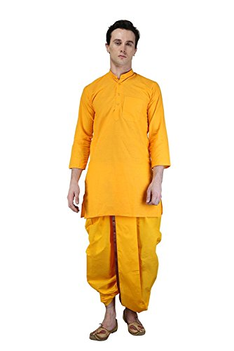 Dhoti Kurta (FOCIL Bhagwa Yellow Cotton Dhoti & Kurta Set For Men's)
