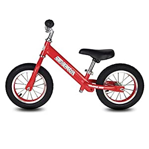 "Toddler Balance Bike, 12"" Tires Glider bike for Kids 2-5 Years Old by Zebrum, Quick Adjust &Padded Seat, No Pedals (Red)"