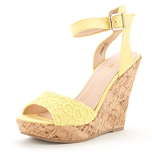 DREAM PAIRS Cherish Womens Fashion Outdoor Ankle Strap Peep Toe Cork Platform  Wedge Casual Sandals Yellow Size 5