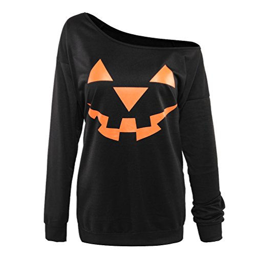 Rysly Womens Sexy Halloween Pumpkin Sweatshirts Pullover Costumes Plus Size L Black