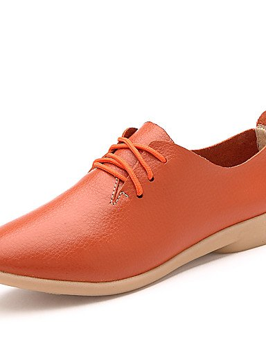 Mujer Orange us9 Zapatos Uk3 5 Zq us5 Black De Uk7 comfort Cn41 oxfords Cn35 5 Eu36 Blanco cuero Plano tacón Hug negro Amarillo Eu40 Naranja casual 56wZgwqt