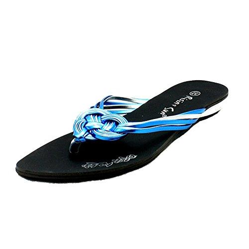 Las Señoras Correa Trenzado Plano Flip Flops Sandalias Azul