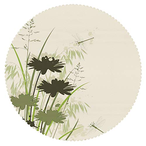 iPrint Decorative Round Tablecloth [ Dragonfly,Lake Flowers Leaves on Abstract Backdrop Image Bird Like Bugs,Dark Green and Light Green ] Home Accessories Set