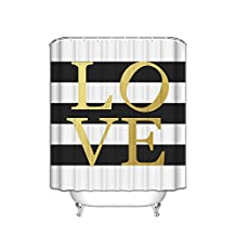 Gold Love Sign - Black and White Stripe Bathroom Shower Curtain Custom Made,72 x 78 inch,100 % polyester Fabric