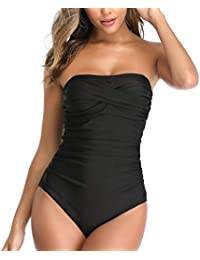 Tummy Control Swimwear Black Strapless One Piece Swimsuit Ruched Padded Bathing Suits Women Slimming Bandeau Bikini
