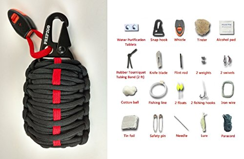 PREP2GO Paracord Survival Grenade Kit (30pc) Wilderness Military Grade Preppers Gear-Water Purification Tabs-Camping Hiking Hunting-Moms Feel Safe! Your Kids Can Get Food Fire And Shelter When Lost
