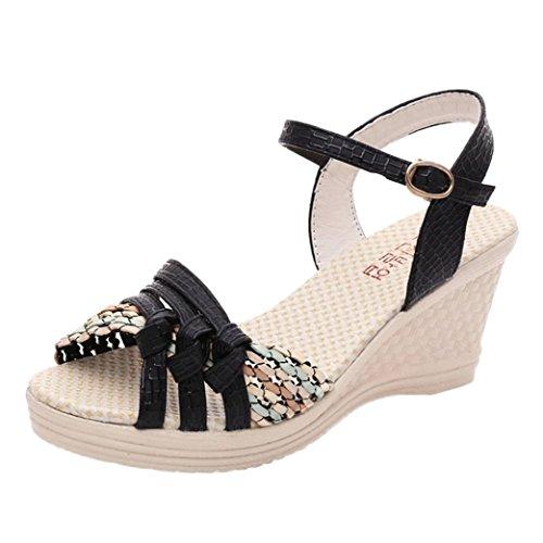 AIMTOPPY HOT Sale, Summer Sandals Ladies Women Wedges Shoes Summer Sandals Platform Toe High-Heeled Shoes (US:6, Black)