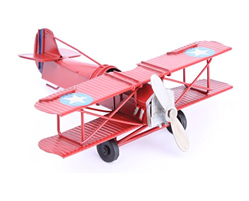 Berry President Vintage Retro Wrought Metal Iron Biplane Plane Aircraft Handicraft Models - Photo Props Home Decor/Ornament/Souvenir (Red)