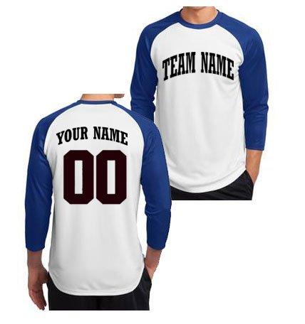 Custom 3/4 Sleeve Baseball T-Shirt - Adult (Royal Blue, ()
