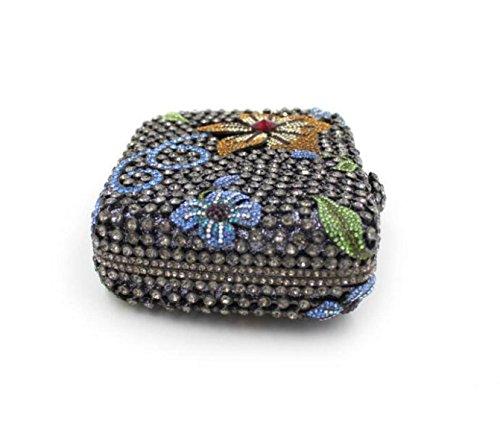 Flores De Lujo Bolso De Noche Con Incrustaciones De Alto Grado Bolso De La Cena Del Diamante Hueco Bolsa Black