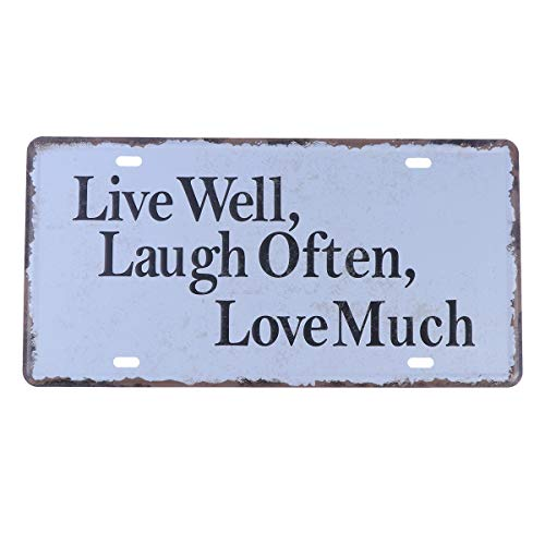 Laugh Tin Sign - Bar retro resterant decor iron metal painting signs tin sign plate wall art décor (live well,laugh often,love much)