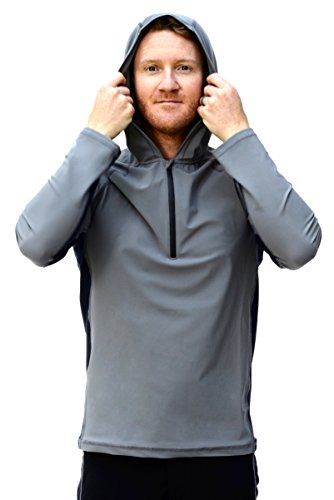 Men's Ultra-Premium Swim Shirt with a Hood Moon Rock / Deep Sea Medium