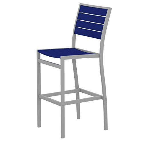 POLYWOOD A102FASPB Euro Bar Side Chair, Textured Silver/Pacific Blue