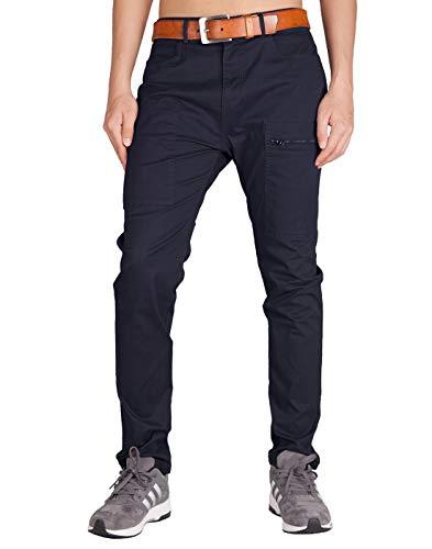 ITALY MORN Men's Chino Khaki Four Bellows Casual Pants 38 Dark Blue