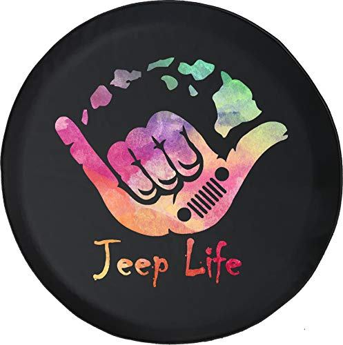 Jeep Tire Cover for Spare Tire Watercolor - Jeep Life Hawaii Black 32 in