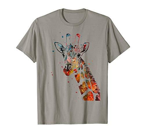 Giraffe T Shirt Watercolor Design Funny For Giraffe Lovers
