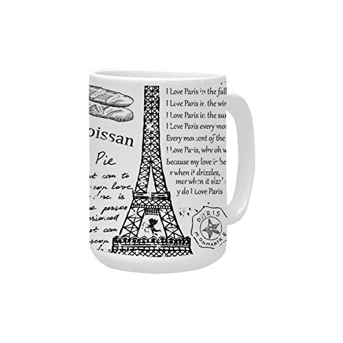 Paris Decor Ceramic Mug,Traditional Famous Parisian Elements Bonjour Croissan Coffee Eiffel Tower Illustration for Home,15OZ
