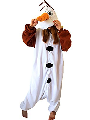 [VU ROUL Adult Kigurumi Frozen Cosplay Soft Plush Costume Olaf Pyjamas Onesies M] (Pajamas Dance Costumes)