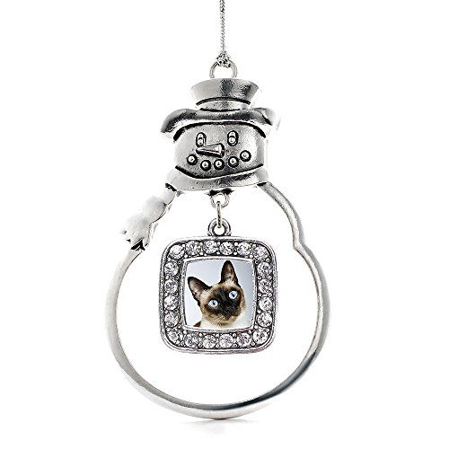 (Inspired Silver - Siamese Cat Charm Ornament - Silver Square Charm Snowman Ornament with Cubic Zirconia Jewelry)