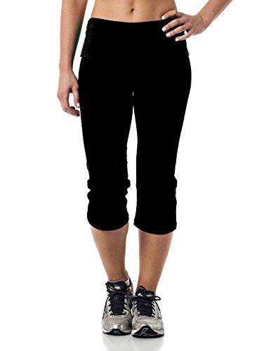Fold Over Fitness Pant - Alki'i Yoga Capri with Foldover waistband, Black L