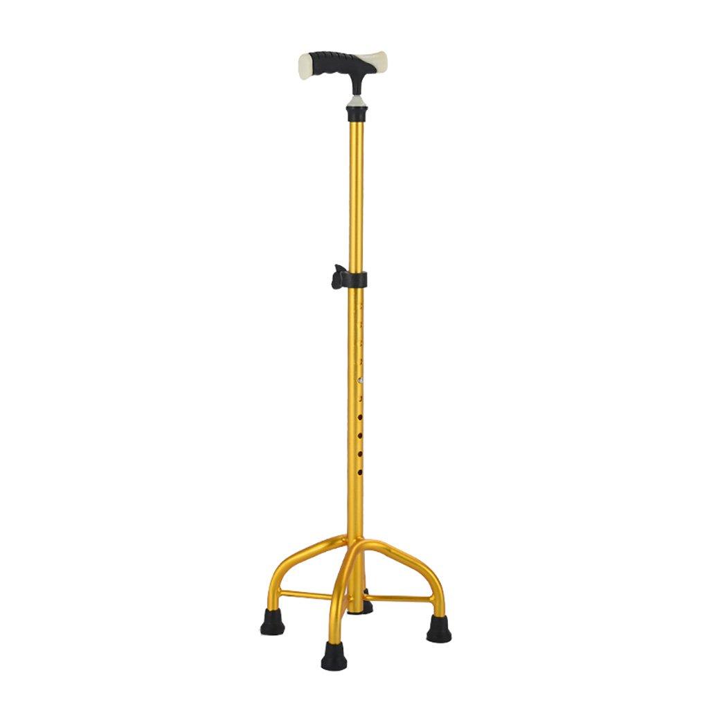 WENJUN 古い紳士や婦人のための杖光沢のあるアルミニウム合金の杖老人の松葉杖テレスコピックウォーキングスティック小さな四角い杖ノンスリップレギュレータ (色 : ゴールド) B07F5K4K17 ゴールド ゴールド