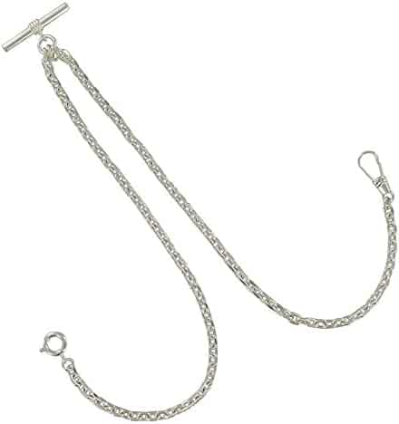 Ky & Co Silver Tone Double Albert Pocket Watch Cable Chain Classic Made in USA
