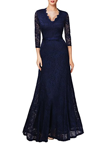 Miusol Women's Floral Lace 2/3 Sleeves Long Bridesmaid Maxi Dress (Large, Navy Blue)