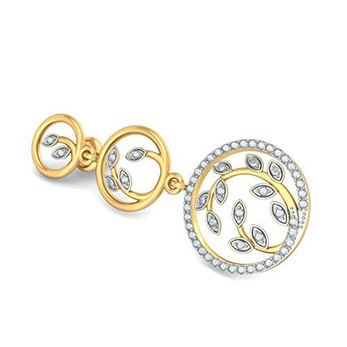 Or jaune 18K 0,59CT TW White-diamond (IJ | SI) Pendants d'oreilles