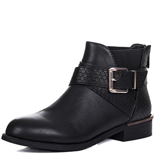 Tacón Chelsea Hebilla Port Bloque Mujer Boots Botines Spylovebuy ZnqAxtwq