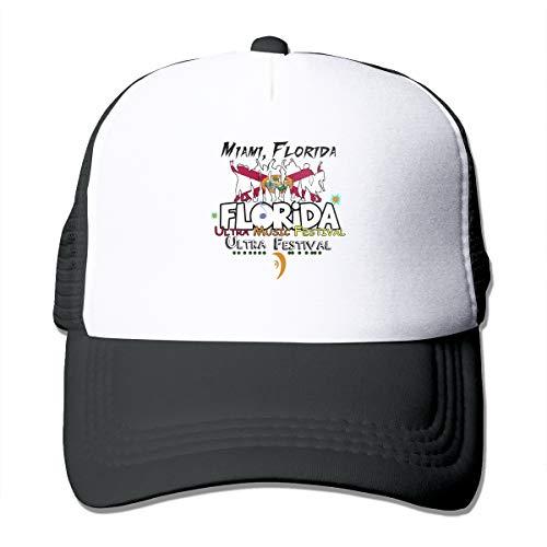 Florida Music Festival Trucker Hat Snap Back Sun Mesh Baseball Cap Hip Hop Flat Hats for Men and Women Black