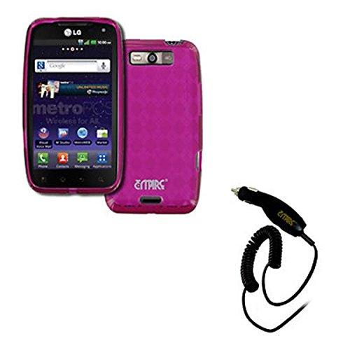 EMPIRE LG Connect 4G MS840 Poly Skin Case Étui Coque Cover Couverture (Hot Pink Rosa Diamond Pattern) + Voiture Chargeur