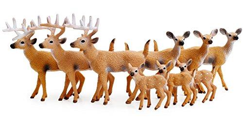 RESTCLOUD Deer Figurines Cake Toppers, Deer Toys Figure, Small Woodland Animals Set of 9