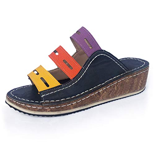 Platform Sandals for Women,ONLYTOP Women's Open Toe Ankle Strap Platform Wedge Sandals Tricolor Low Wedge Shoes