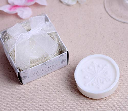 WO JIA Creative Handmade Scented soap Favors for Baby Shower Favors and Wedding Favors (24, Snowflake soap)