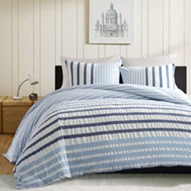 Ink+Ivy Sutton Striped Blue Mini Duvet Set 3-piece King 106x94  - Children's Bedding - Color Blue - Create an ombre effect in your bedroom - shams are 36x20  - Imported